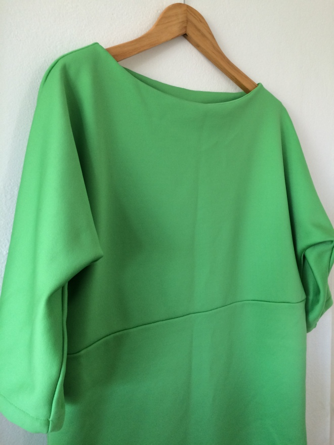 Apple green neoprene kimono sleeve dress