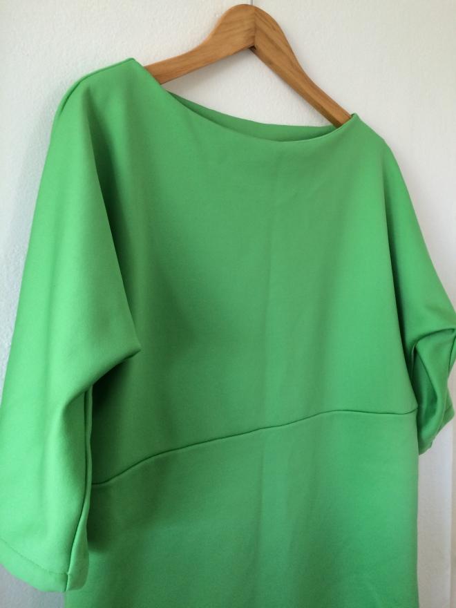 Apple green neoprene kimono sleeve dress
