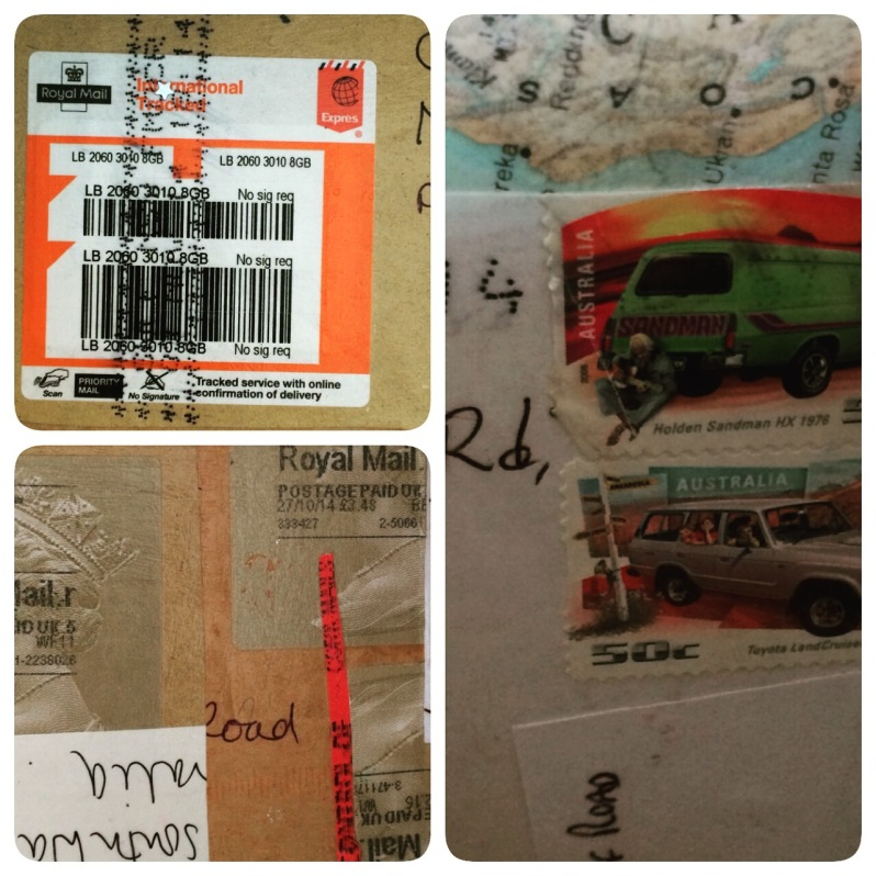 Parts of the interior with stamps, post marks and bits of envelope